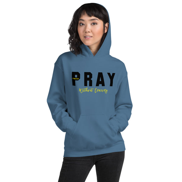 Pray Without Ceasing Unisex Hoodie Blk-Ylw