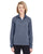 8618W UltraClub Ladies' Cool & Dry Heathered Performance Quarter-Ziper-Zip - NAVY HEATHER