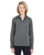8618W UltraClub Ladies' Cool & Dry Heathered Performance Quarter-Ziper-Zip - BLACK HEATHER