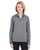 8618W UltraClub Ladies' Cool & Dry Heathered Performance Quarter-Ziper-Zip - CHARCOAL HEATHER