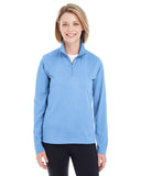 8618W UltraClub Ladies' Cool & Dry Heathered Performance Quarter-Ziper-Zip - BLUE HEATHER