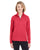 8618W UltraClub Ladies' Cool & Dry Heathered Performance Quarter-Ziper-Zip - RED HEATHER
