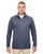 8618 UltraClub Men's Cool & Dry Heathered Performance Quarter-Zip - NAVY HEATHER