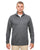 8618 UltraClub Men's Cool & Dry Heathered Performance Quarter-Zip - BLACK HEATHER