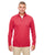 8618 UltraClub Men's Cool & Dry Heathered Performance Quarter-Zip - RED HEATHER