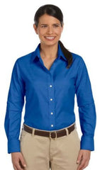 Harriton M600W Women's Long Sleeve Oxford - LogoShirtsWholesale                                                                                                       - 1