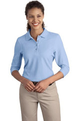 L562 Port Authority® - Ladies Silk Touch™ 3/4-Sleeve Polo - LogoShirtsWholesale                                                                                                       - 1