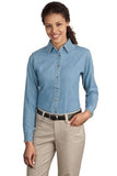 LSP10 Port & Company Ladies' Long Sleeve Denim - LogoShirtsWholesale                                                                                                       - 1