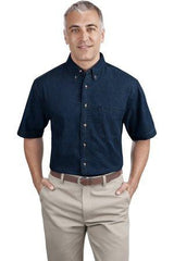 SP11 Port & Company Short Sleeve Denim Shirt - LogoShirtsWholesale                                                                                                       - 1
