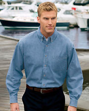SP10 Port & Company Long Sleeve Denim Shirt - LogoShirtsWholesale                                                                                                       - 1