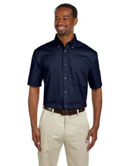 M500S Harriton Men's Easy Blend™ Short-Sleeve Twill Shirt with Stain-Release - LogoShirtsWholesale                                                                                                       - 1
