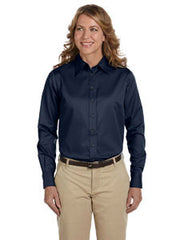 M500W Harriton Women's Long Sleeve Twill - LogoShirtsWholesale                                                                                                       - 1