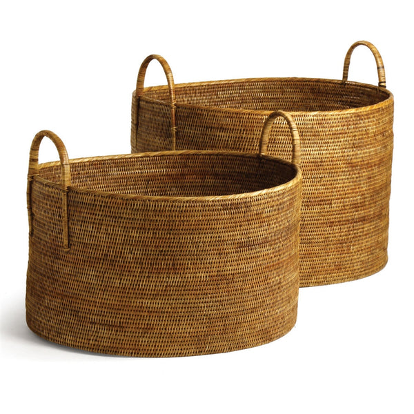 Burma Rattan Hampers w/ Handles, Set of 2