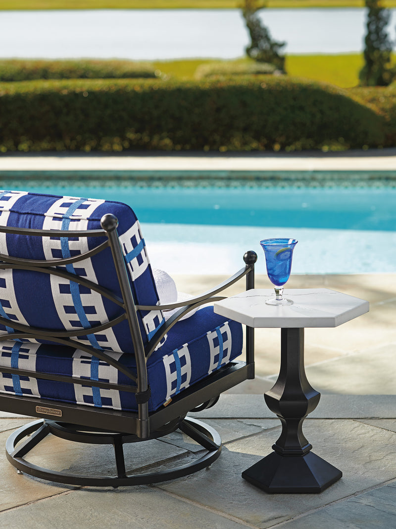 Pavlova Swivel Lounge Chair in Blue & White