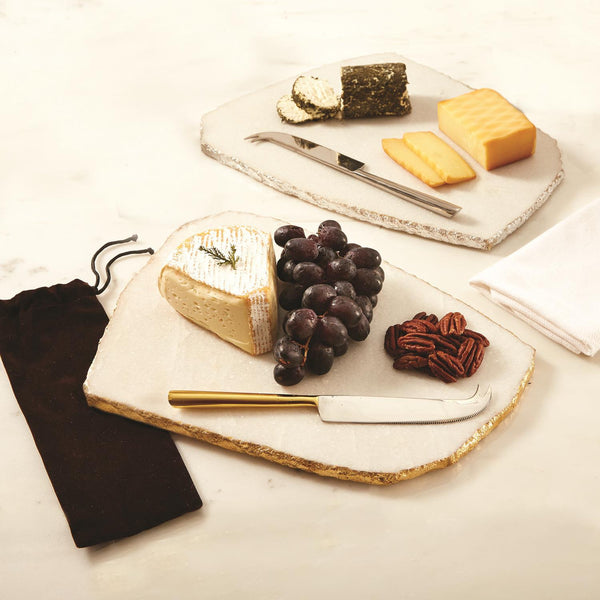 White Marble Cheese Plate with Knife