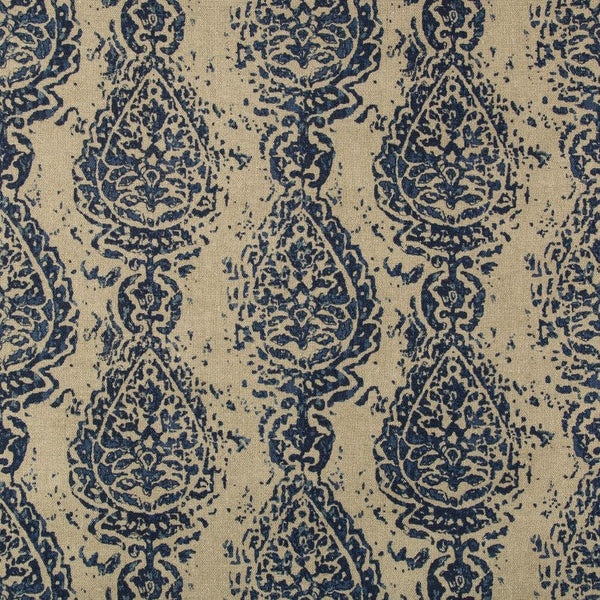 Abbess Paisley Fabric in Azure