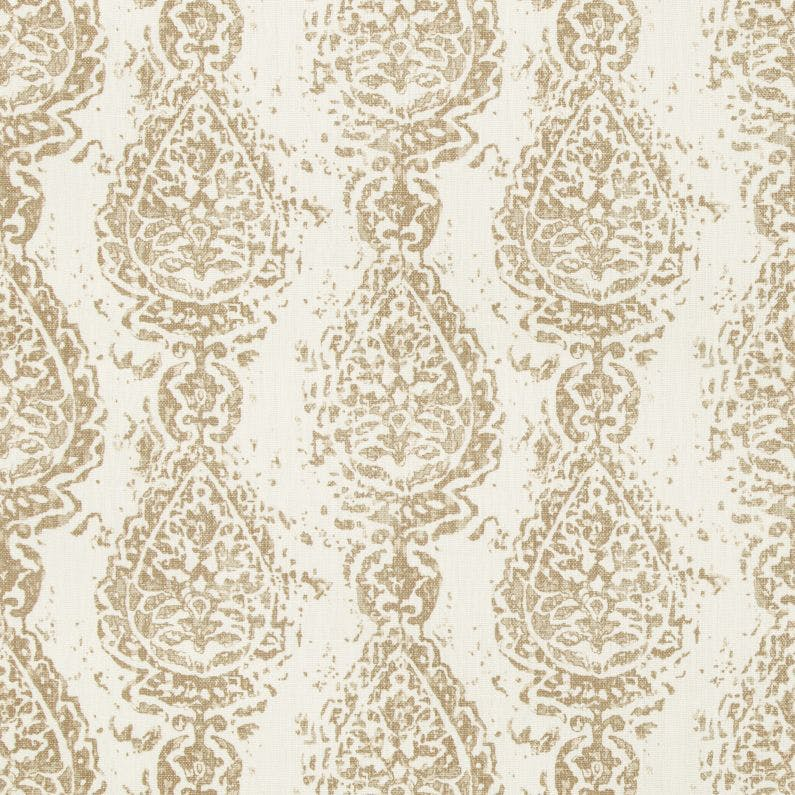 Abbess Paisley Fabric in Coconut