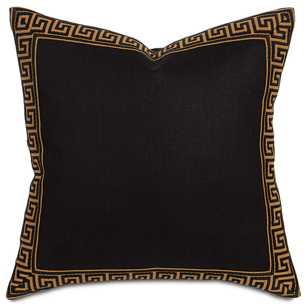 Breeze Black Greek Key Border Accent Pillow