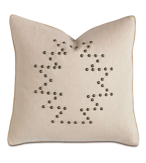 Breeze Bisque Nailheads Accent Pillow
