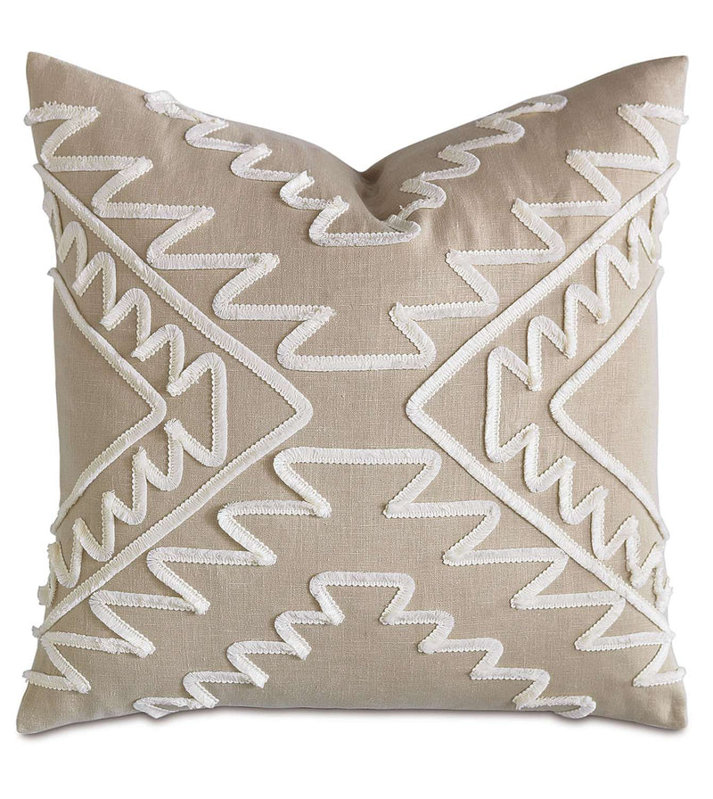 Breeze Bisque With Mini Brush Fringe Accent Pillow