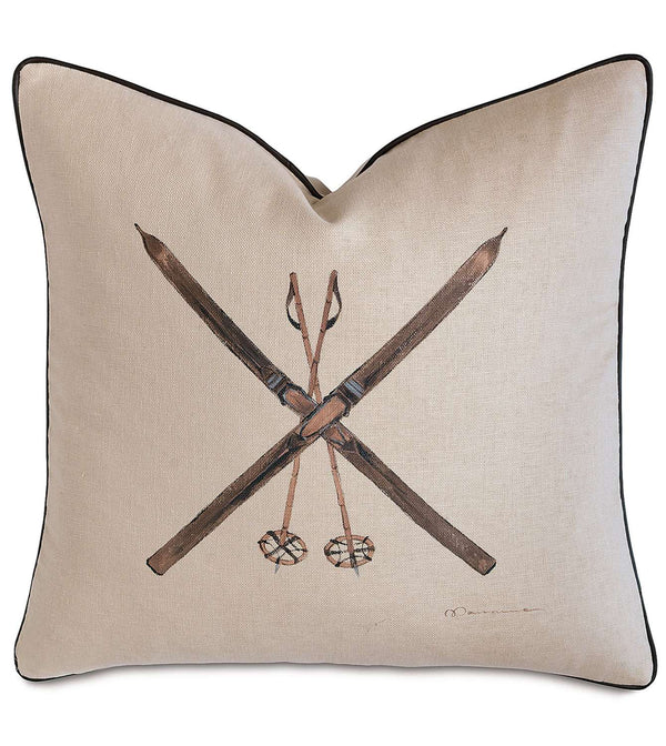 Skis Hand-Painted Accent Pillow