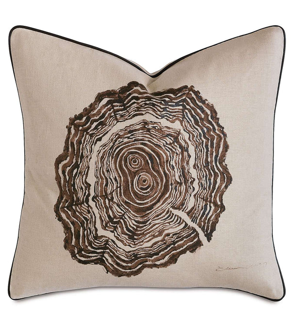 Tree Trunk Rings Hand-Painted Accent Pillow