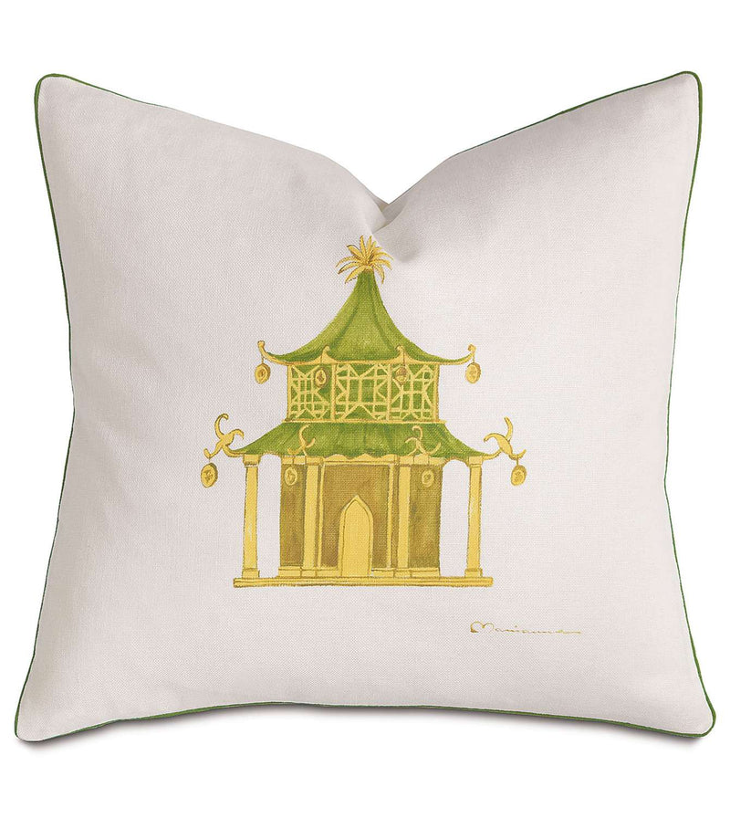 Pagoda Hand-Painted Accent Pillow