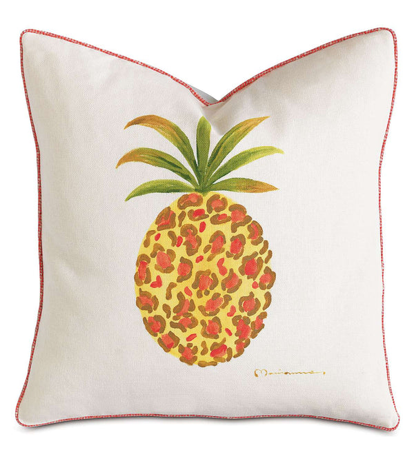 Pineapple Hand-Painted Accent Pillow