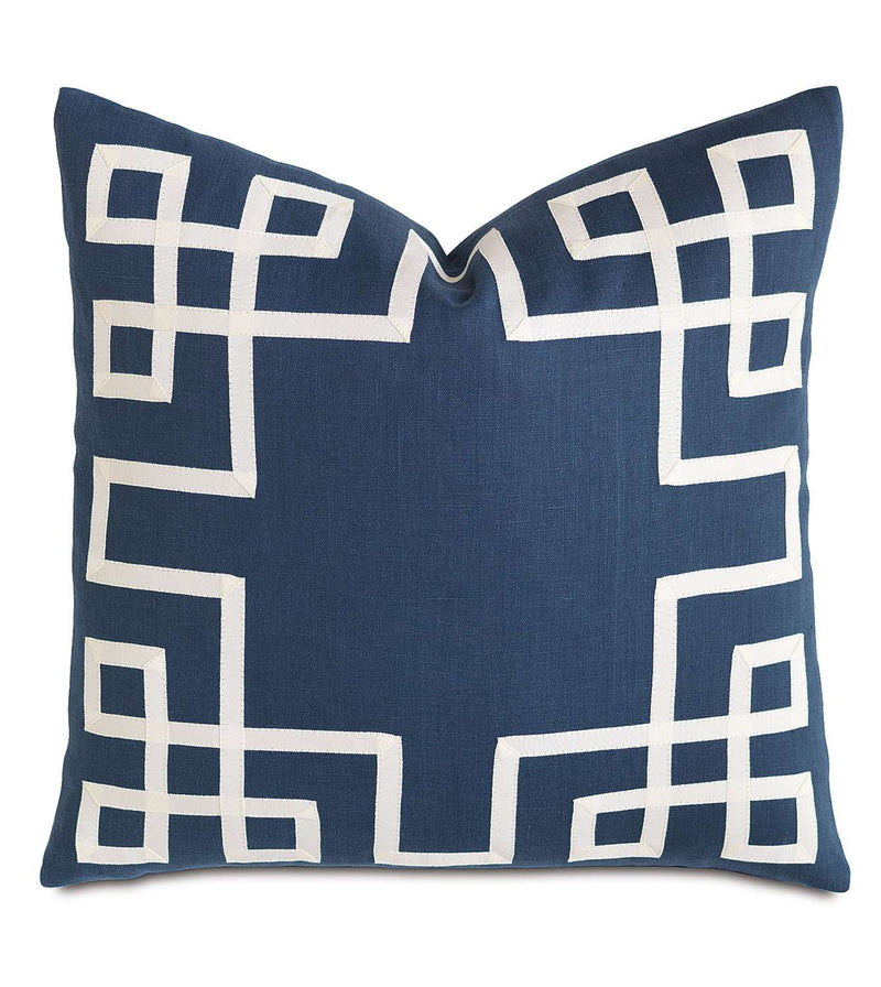 Breeze Indigo with Ribbon Accent Pillow