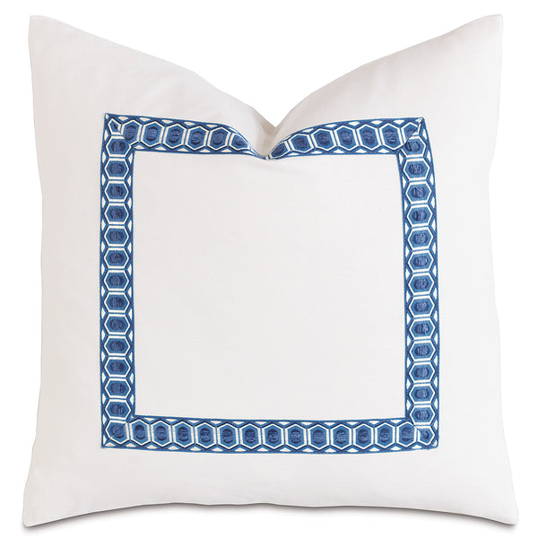 Baldwin White with Border Accent Pillow