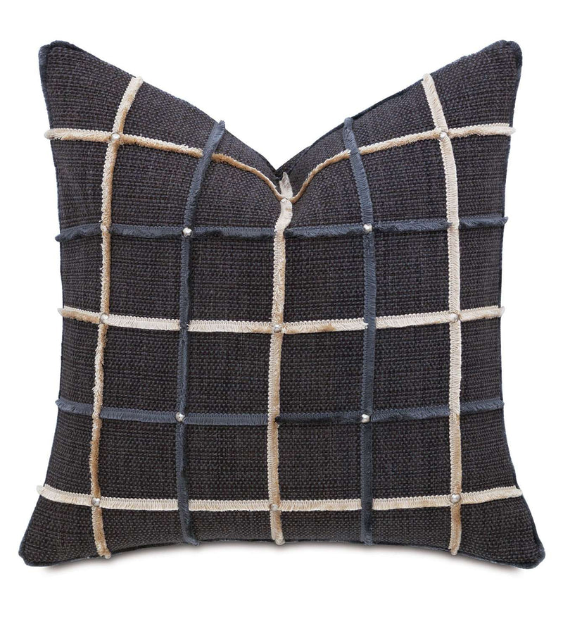 Gilmer Charcoal w/Mini Brush Fringe Accent Pillow