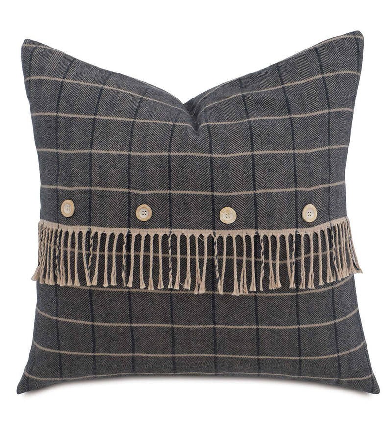 Plaid w/Fringe and Buttons Accent Pillow