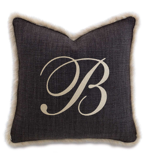 Gilmer Charcoal Monogram Accent Pillow