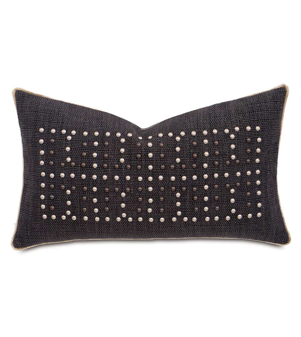 Gilmer Charcoal Nailheads Accent Pillow