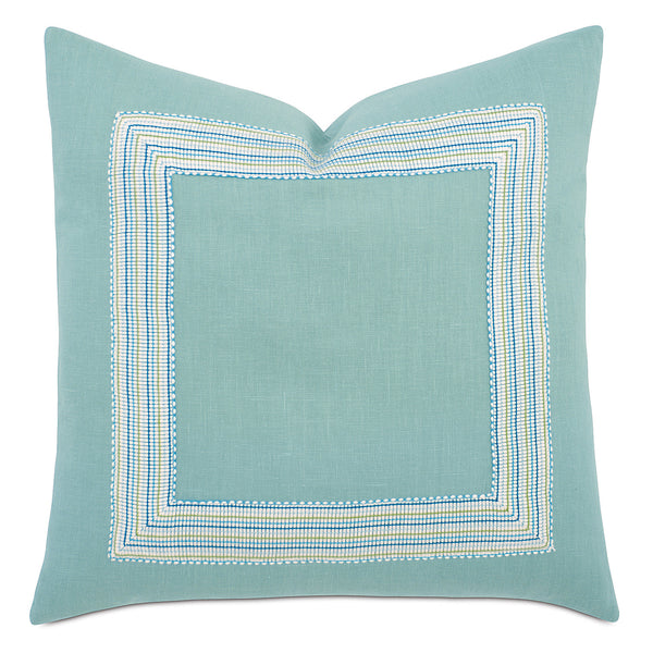 Breeze Aqua Mitered Border Accent Pillow