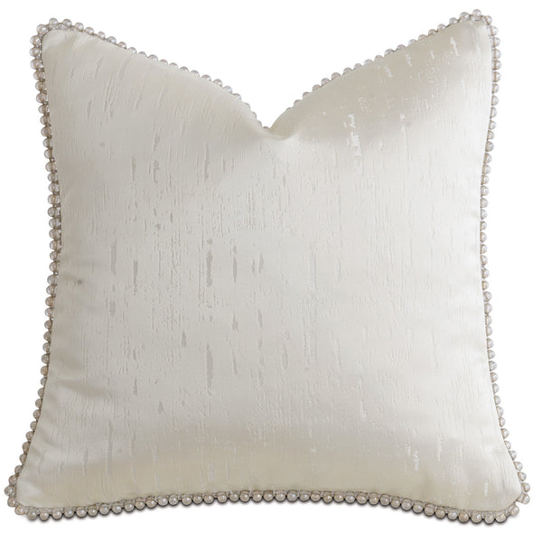 Glisten Fog Beaded Trim Accent Pillow