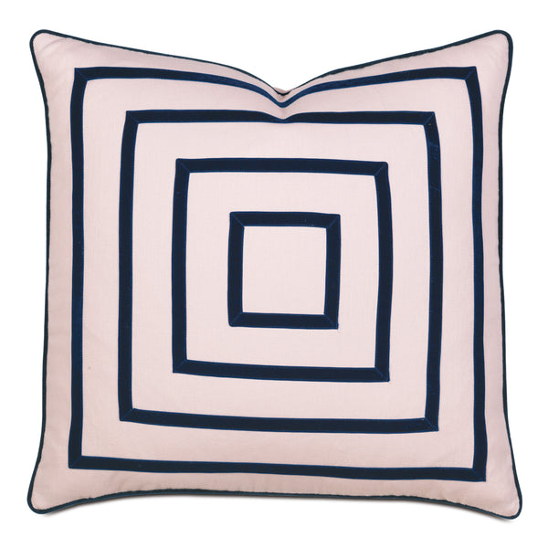 Priya Blush Mitered Ribbon Accent Pillow