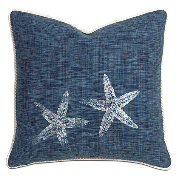 Starfish Block-Printed Garrison Accent Pillow