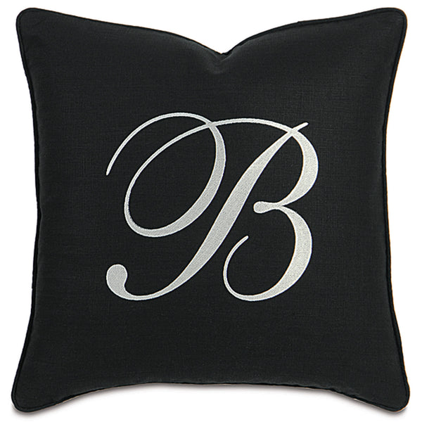 Breeze Black Monogram Accent Pillow