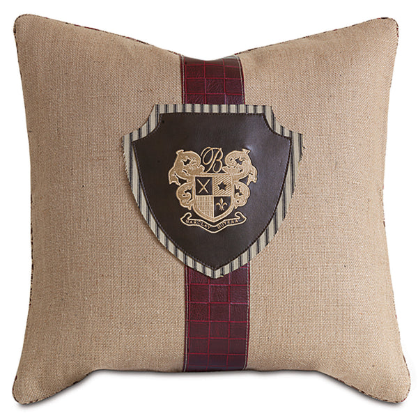 Rustique Wheat Embroidered Crest Accent Pillow