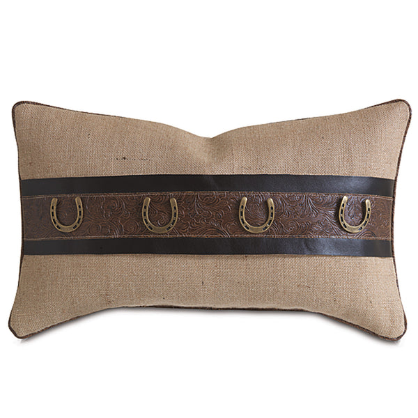 Rustique Wheat Horseshoes Accent Pillow