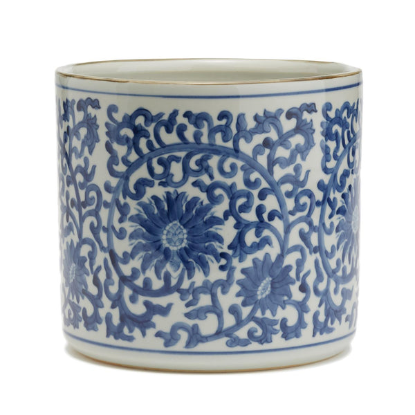 Blue & White Lotus Flower Vase / Planter