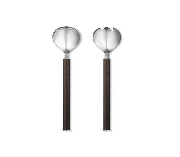 Bernadotte Salad Servers, Stainless Steel and Smoked Oak