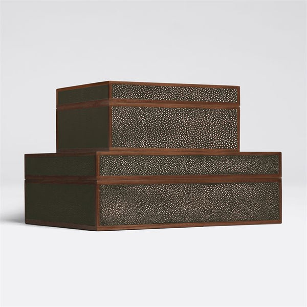 Cooper Faux Shagreen Boxes, Set of 2