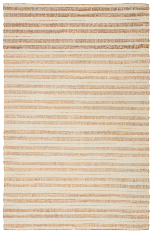 Rey Natural Striped Tan/ Ivory Area Rug