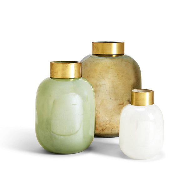 Lux Vases with Golden Collar, Set of 3