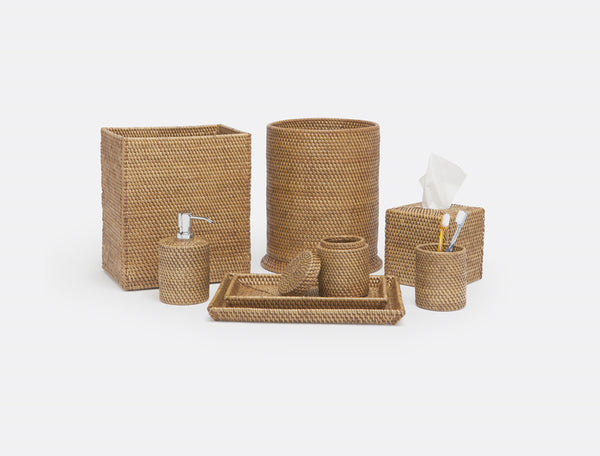Dalton Collection Bath Accessories, Brown Rattan