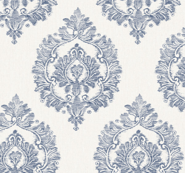 Damascus Indigo Wallcovering