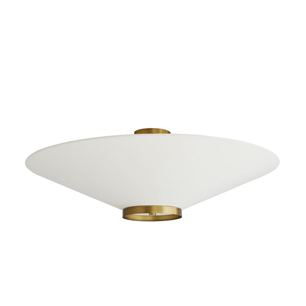 Decker Semi-Flush, Antique Brass