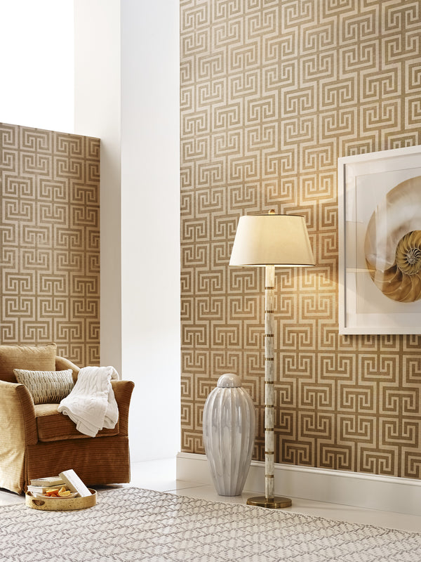 Greek Key Grasscloth Wallcovering